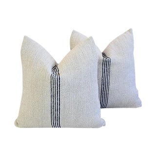 "Custom Tailored French Homespun Grain Sack Feather/Down Pillows 20"" Square - Pair"