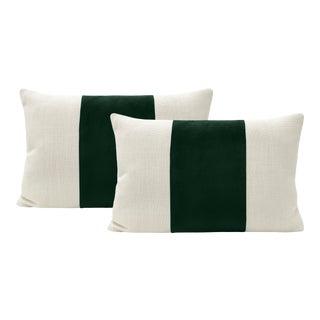 """12"""" X 18"""" Emerald Velvet Panel & Linen Lumbar Pillows - a Pair For Sale"""