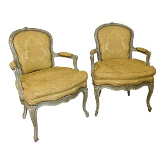 Pair Antique French Louis XVI Style Painted Open Armchairs C1900