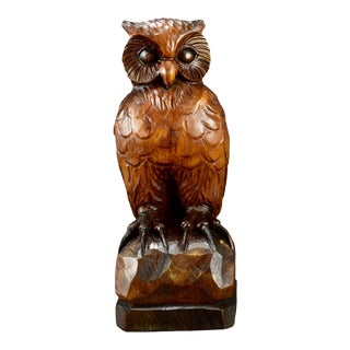1950s Black Forest Owl Statue For Sale