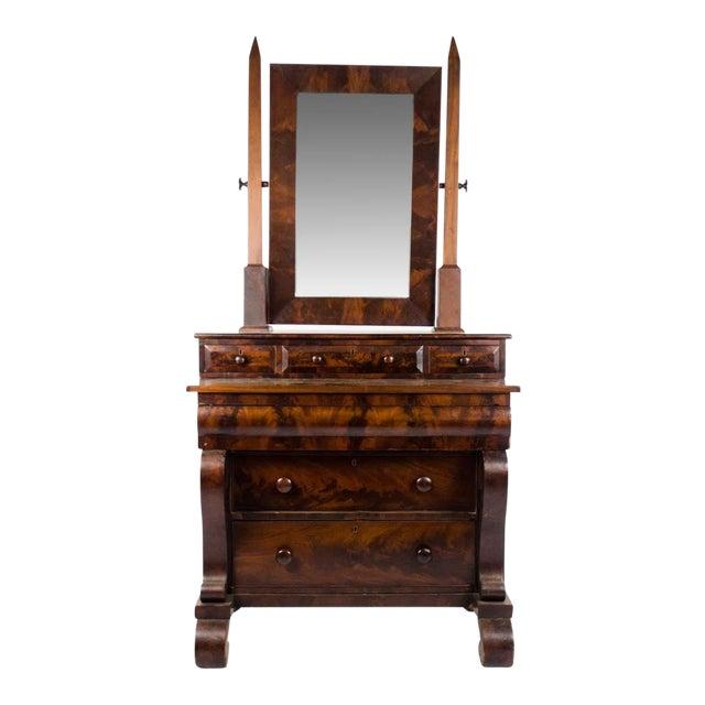 Late 19th Century Antique American Empire Mahogany Vanity Dresser For Sale