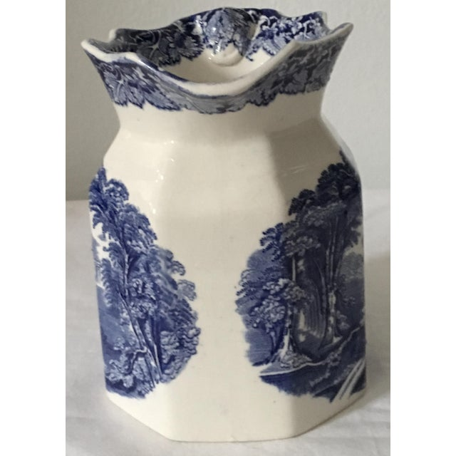 French Provincial Antique Mason's Blue and White Ironstone Transferware Jug For Sale - Image 3 of 8