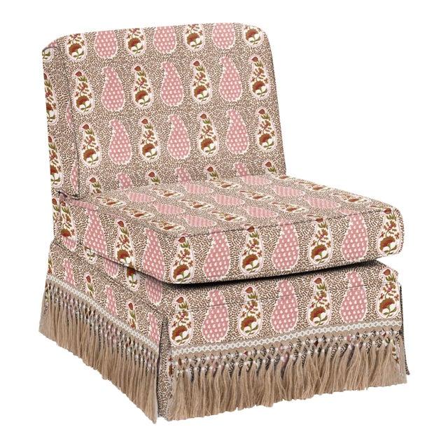 Virginia Kraft for Casa Cosima Skirted Slipper Chair, Jangle Supreem, Warm For Sale