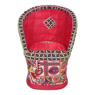 Modern Cotton Red Embroidered Bucket Seat For Sale