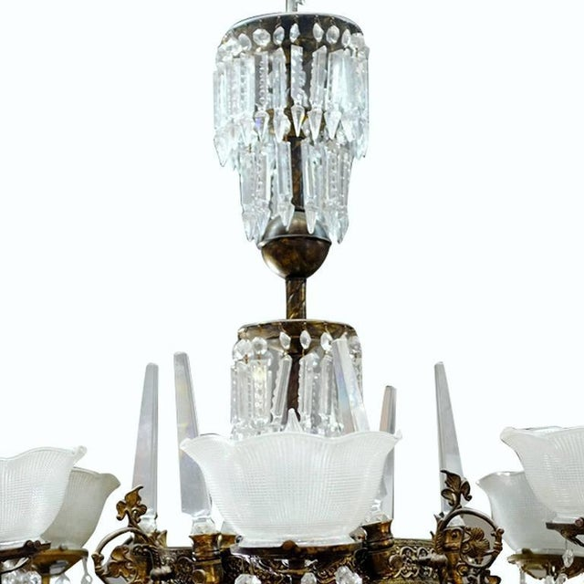 Traditional Renaissance Style Brass and Crystal Gas Style Chandelier For Sale - Image 3 of 5