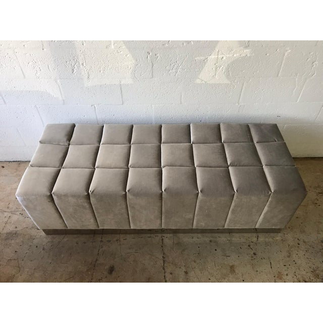 Harvey Probber Style Biscuit Tufted Grey Velvet and Steel Bench or Ottoman For Sale In Miami - Image 6 of 13