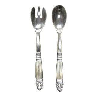 1930s Denmark Georg Jensen Sterling Silver and Horn Acorn Serving Pieces - 2 Pc. Set For Sale