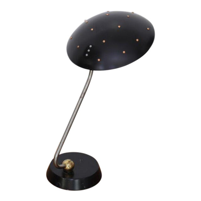 Huge Black Table Lamp with Chrome, Copper and Brass Details For Sale