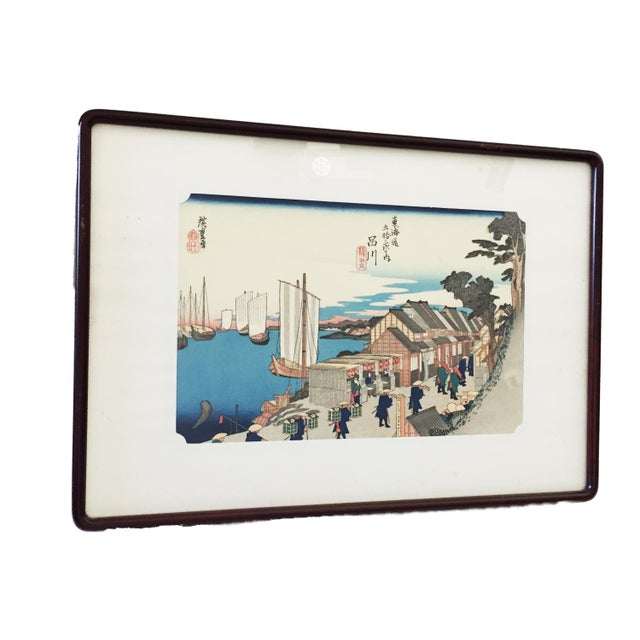 Superb Japanese Woodblock Print on rice paper depicting a port with figures Colors are bright and vivid. colors ....of one...