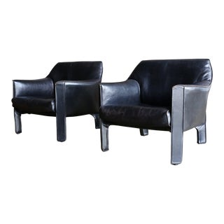 Mid-Century Modern Mario Bellini Black Leather Lounge Chairs - a Pair