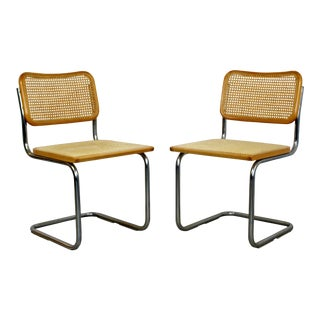 Mid-Century Modern Cantilever Chrome Rattan Side Chairs Breuer 1970s Italy, Pair For Sale
