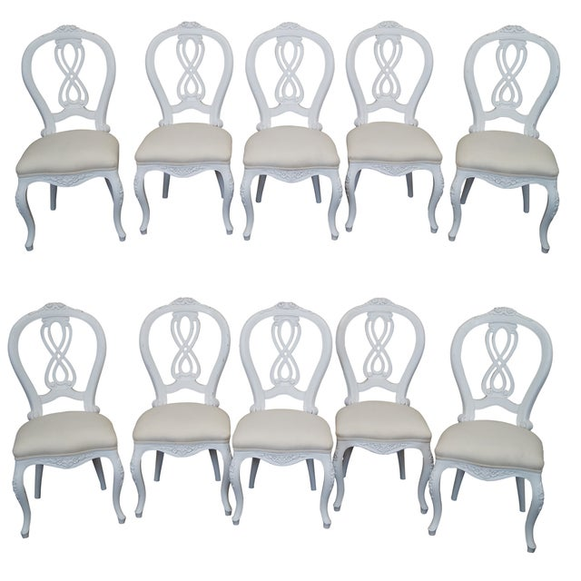 French Style White Dining Chairs - Set of 10 - Image 1 of 7