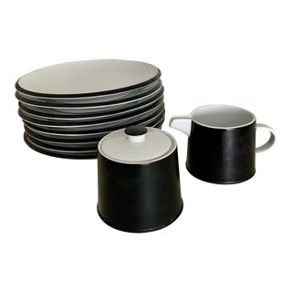 Contempo Frost Vintage Mid Century Modern Black and White Dessert Plates, Sugar and Creamer - Set of 8 For Sale