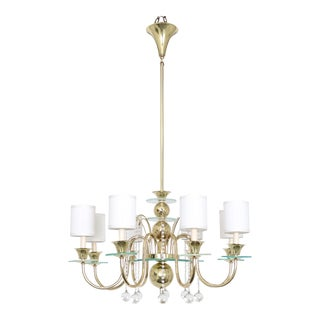 Brass Chandelier in the Manner of Tommi Parzinger For Sale