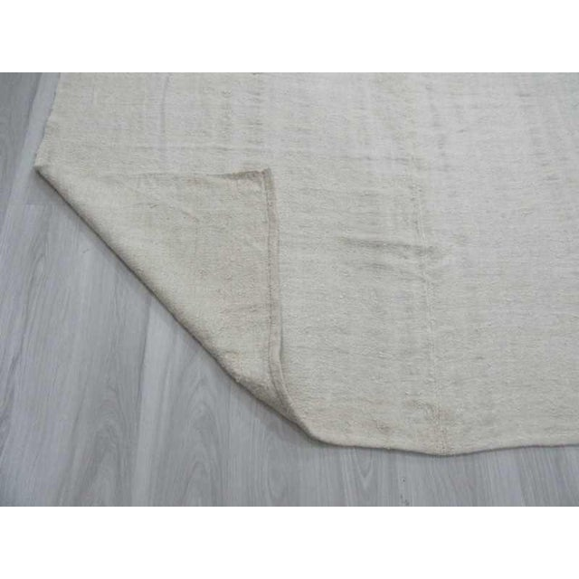 Vintgage white Turkish hemp kilim rug For Sale In Los Angeles - Image 6 of 6