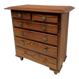 Vintage Hand Crafted Pine Wood Miniature Chest of Drawers/Side Table