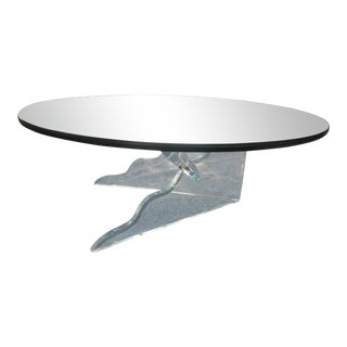 Mid-Century Modern Lucite Base Coffee Table For Sale