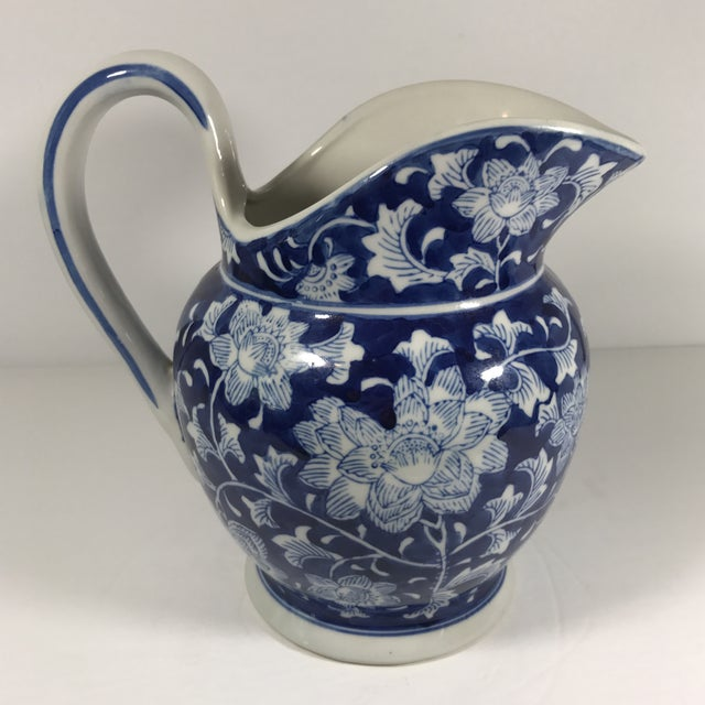 Chinoiserie Blue and White Pitcher - Image 4 of 11