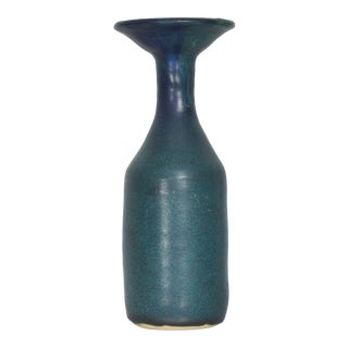 Bitossi Style Cool Blue Ceramic Pottery Vase Mid Century Modern Italy For Sale