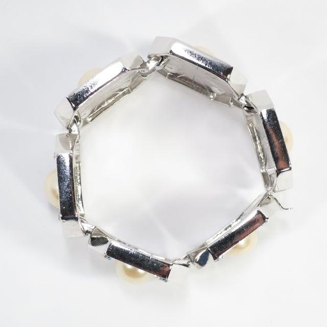 1980s Ysl Yves Saint Laurent Faux Mabe Pearl & Black Enamel Link Bracelet For Sale - Image 9 of 13