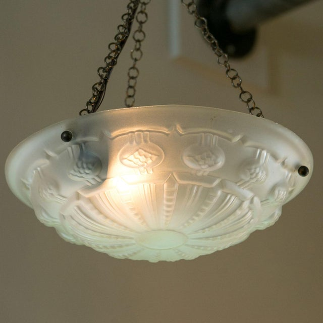Art Deco Art Deco Frosted Glass Pendant For Sale - Image 3 of 7