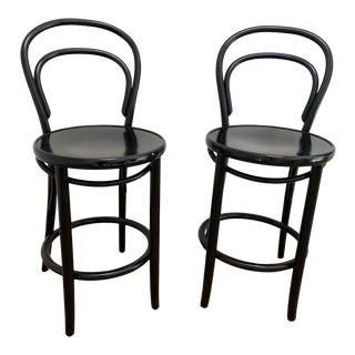 Thonet Black Bentwood Counter Stools - a Pair For Sale