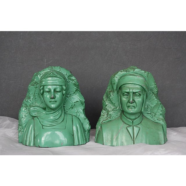 This fantastic set of antique Jennings Brothers bookends depicts a stern Dante and his beautiful Beatrice. A rare Jennings...