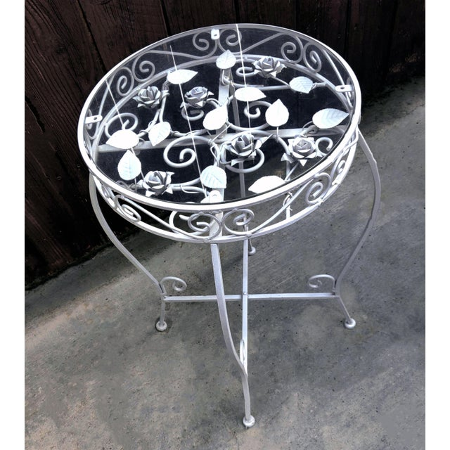 Metal Palm Springs Regency White Iron Rose Bud Decorated Side Tables - a Pair For Sale - Image 7 of 12