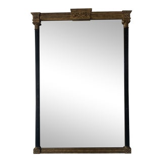 Vintage Italian Gold & Black Wall Mirror For Sale