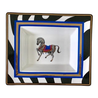 Zebra Wildlife Pattern Gilt Porcelain Rectangular Bowl For Sale