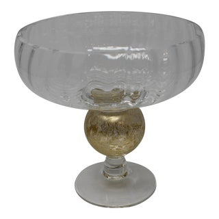Gold and Clear Glass Hand Made Glass Candy Dish For Sale