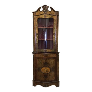 Antique French Mahogany Corner Cabinet For Sale