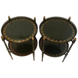 1950s Traditional 2-Tier Round Tole End Tables - a Pair