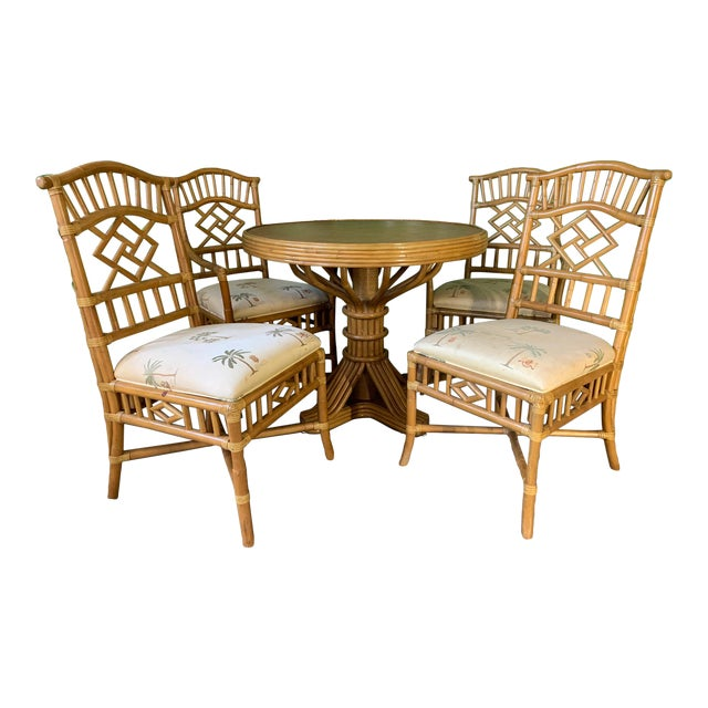 Vintage Rattan Dining Set Table and Four Chairs For Sale