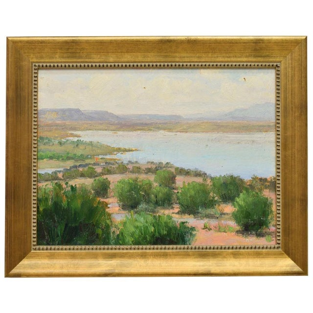 New Mexico Landscape Desert and River oil painting on board, signed by artist in lower right D. Ward (Don Ward, New...