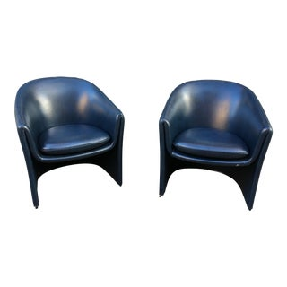 1980s Vintage Blue Vinyl Dunbar Chairs- A Pair For Sale
