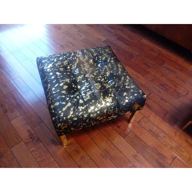 Abstract Gambrell Renard Black and Gold Metallic Ottoman For Sale - Image 3 of 5