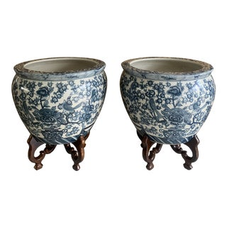 Blue and White Chinese Porcelain Planters on Stands - a Pair For Sale