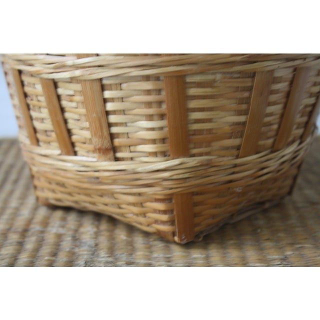 Rattan Vintage Woven Wicker Basket For Sale - Image 7 of 10