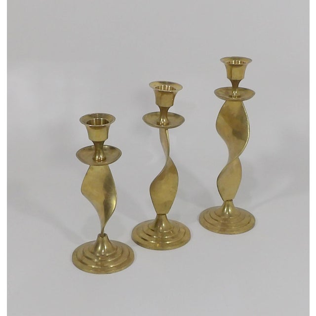 Mid Century Modern Gatco Twisted Brass Candlesticks - Set of 3 For Sale - Image 10 of 10