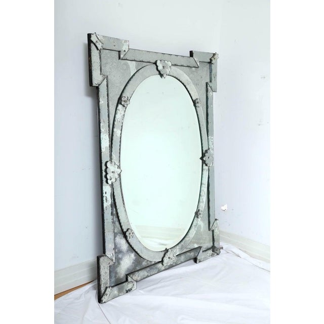 1940's Hollywood Regency Venetian Mirror With Exquisite Shield Design For Sale - Image 4 of 11