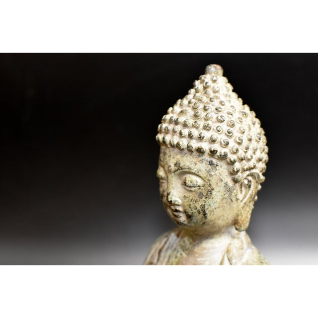 19th Century Antique Bronze Buddha Statue For Sale - Image 4 of 13