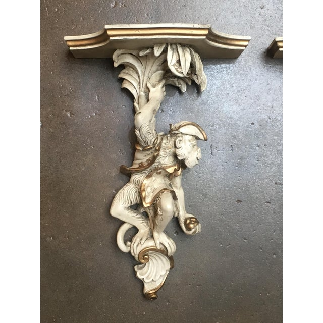 Plastic Pair of Vintage Composite Monkey Wall Shelves or Brackets For Sale - Image 7 of 9