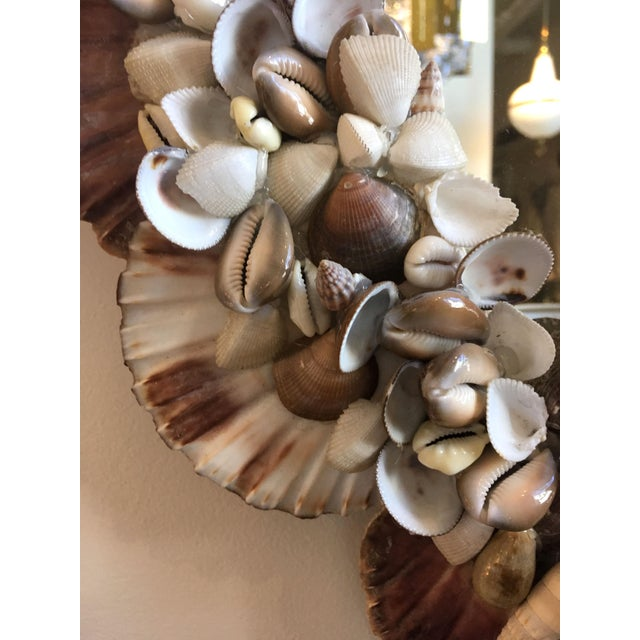 1970s Mid-Century Modern French Wall Mirror Adorned With Shells For Sale - Image 4 of 6