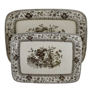 19th C. Staffordshire Aesthetic Movement Honfleur Serving Platters - a Nesting Pair For Sale