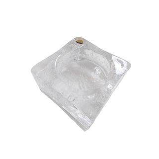1960s Vintage Leerdam Crystal Art Glass Ashtray Bowl Candle Holder For Sale