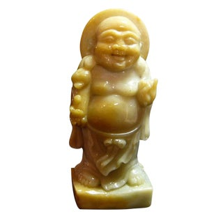 Chinese Yellow Nephrite Happy Buddha Small Statue For Sale