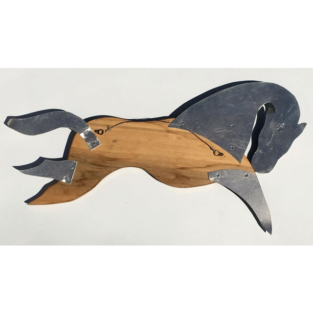 Mid Century Modern Teak & Aluminum Horse Wall Hanging For Sale - Image 4 of 6