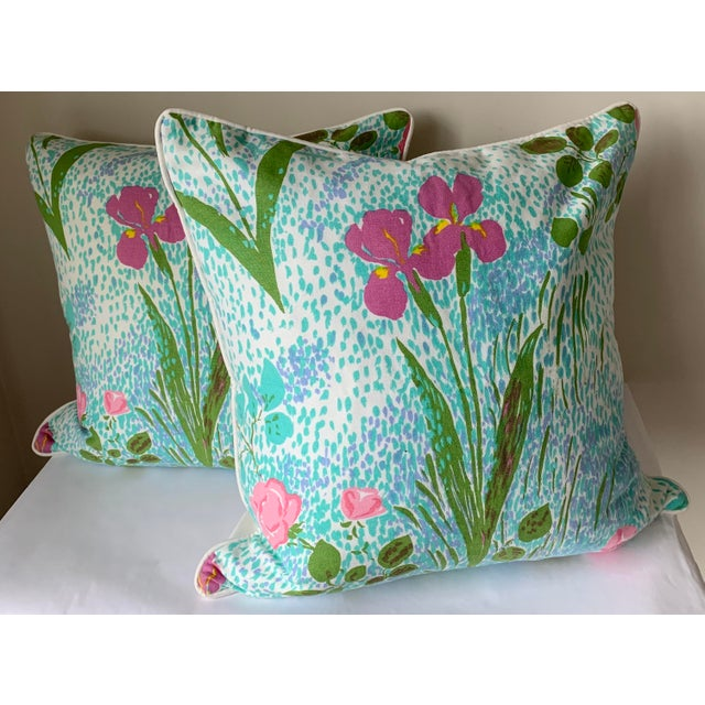 Pair of custom pillows made from vintage Paule Marrot for Brunschwig & Fils printed cotton fabric. Backed in white cotton...