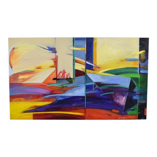 1990s Abstract Geometric Oil Painting